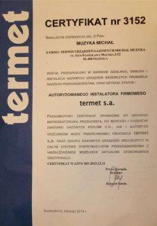Certyfikat Termet